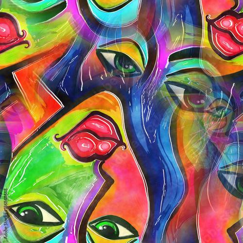 Naklejki na meble Abstrakcyjna twarz kobiety w stylu graffiti