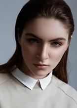 Beautiful Fashion Model Wearing Grey Jumper Scull