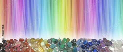 Photo  Magnificent Multicoloured Chakra Healing Stones header - wide rainbow coloured g
