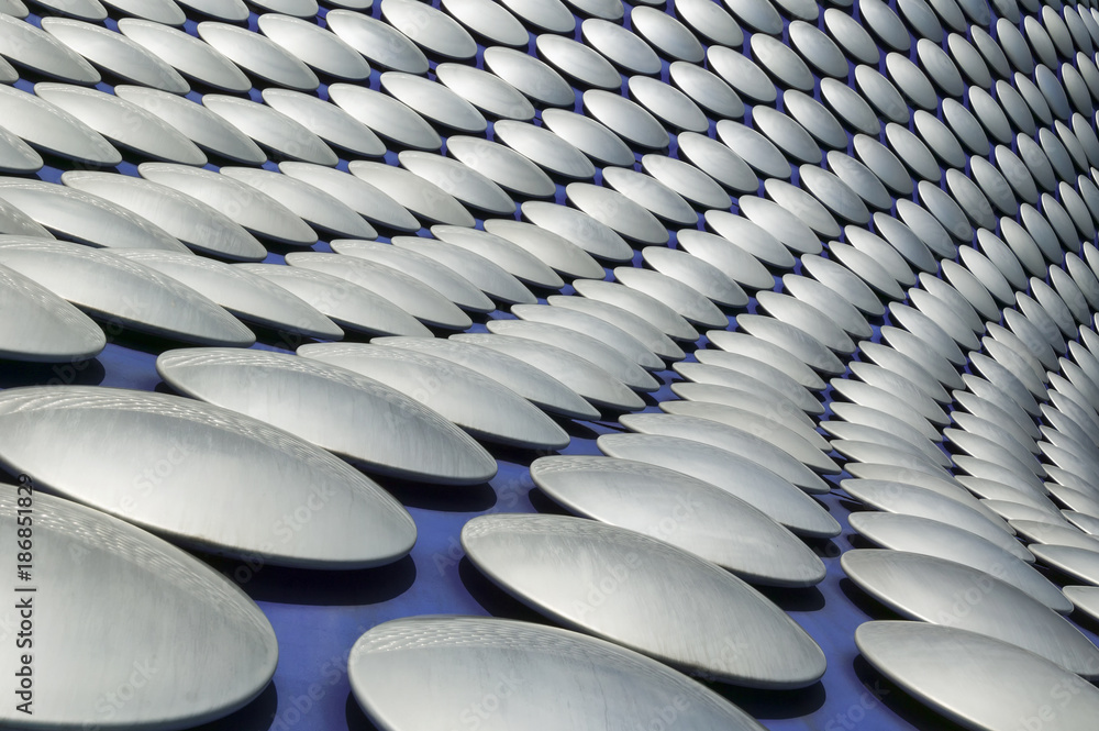 Fototapety, obrazy: Futuristic modern building roof cladding detail at the Birmingham Bullring shopping centre England