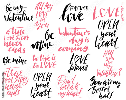 Carta da parati Set of handdrawn modern dry brush lettering phrases