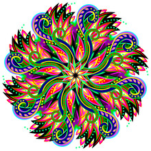 Fantastic Swirl Ornament Done In Kaleidoscopic Style. Geometric Circle Vector Image.