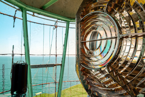 Fotografie, Obraz Old crystal lens of a lantern on a lighthouse