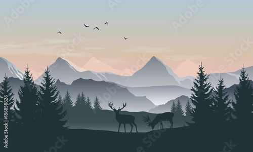 Obraz Vector landscape with silhouettes of mountains, trees and two deer with sunrise or sunset sky - fototapety do salonu