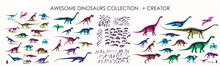 Set Of Silhouettes, Dino Skeletons, Dinosaurs, Fossils. Hand Drawn Vector Illustration. Realistic Sketch Collection: Diplodocus, Triceratops, Tyrannosaurus, Doodle Pattern...