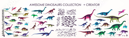 Photo  Set of silhouettes, dino skeletons, dinosaurs, fossils