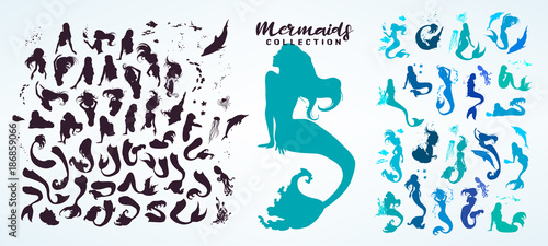 Set: ink sketch collection of mermaids and siren creator, isolated on white Wallpaper Mural