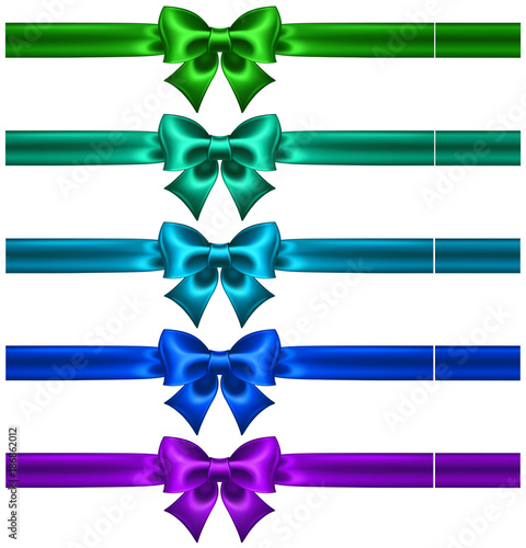 Festive bows in cool colors with ribbons