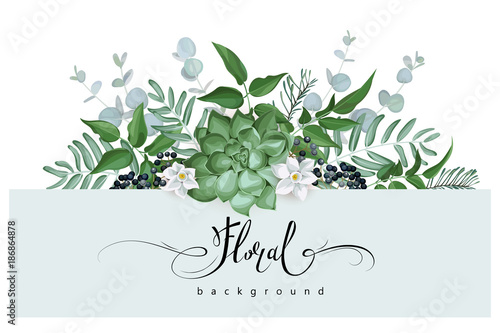 Foto  Floral background with succulent