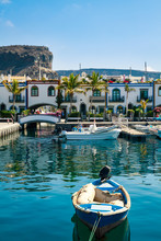 Colourful Port With Palm Trees Puerto De Mogan On Gran Canaria Island.