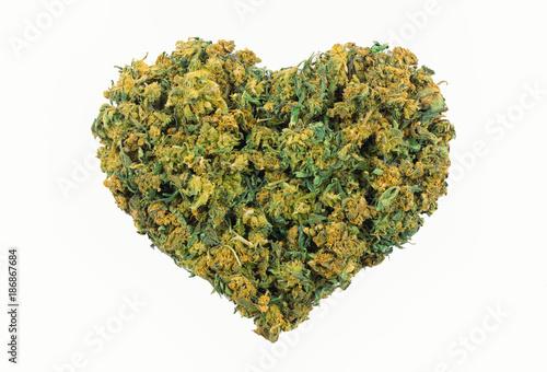 Vászonkép Marijuana heart shape
