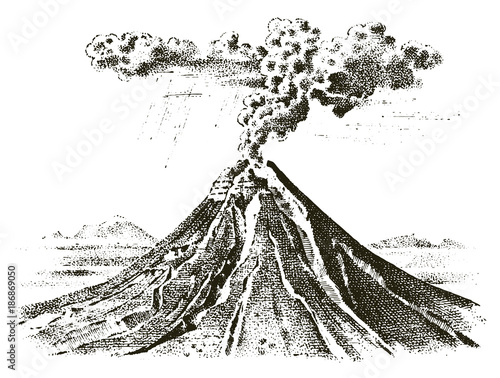 Foto volcano activity with magma, smoke before the eruption and lava or nature disaster