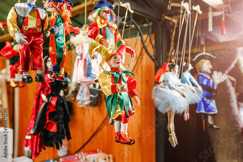 Cuadros en Lienzo puppet doll jester for sale as souvenir at the market
