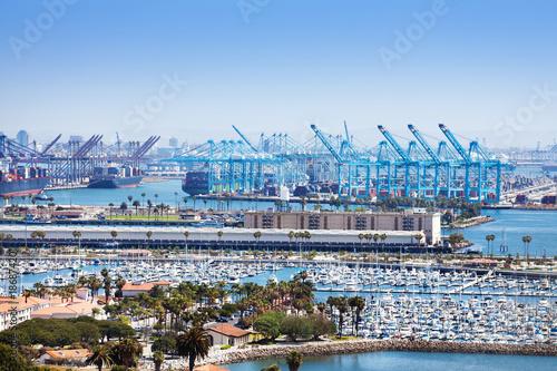 Fényképezés  Long Beach marina and shipping port at sunny day