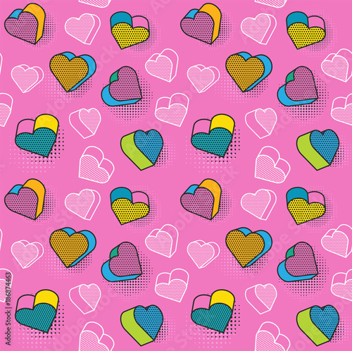 Vector seamless pattern, colorful pattern with 3d graphic elements Canvas Print