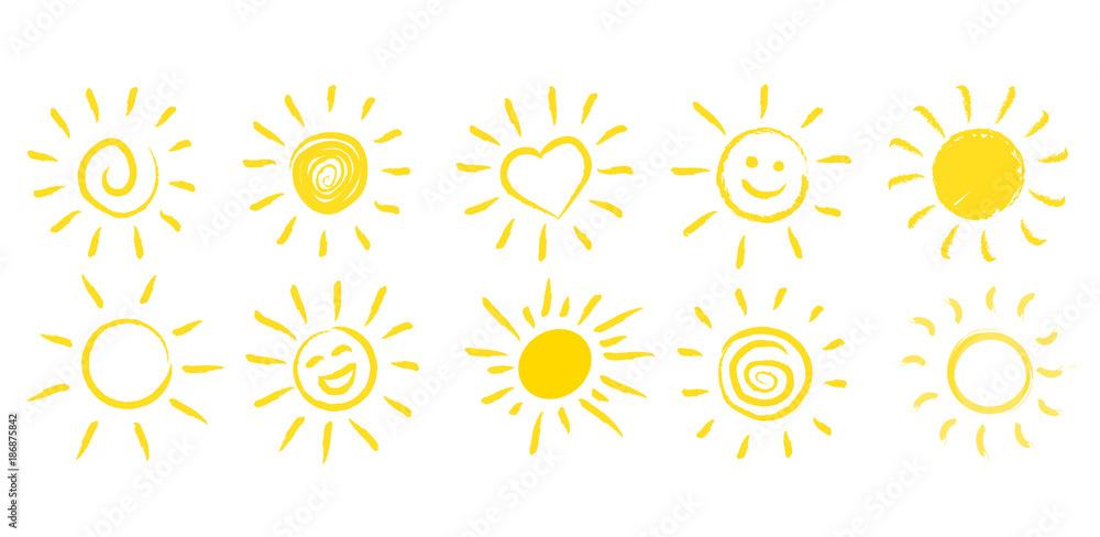 Fototapeta Ręcznie rysowane słońce