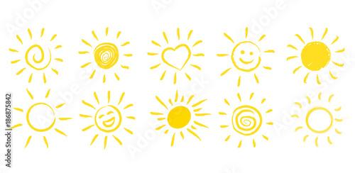 fototapeta na ścianę Ręcznie rysowane słońce