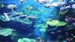 Corals and exotic marine fish. Ocean life. The Bangkok oceanarium. Scene under water. Large aquarium. Wild nature. Tropical inhabitants
