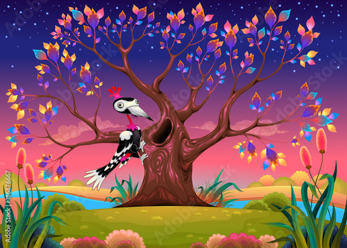 Staande foto Kinderkamer Happy tree in the countryside with woodpecker