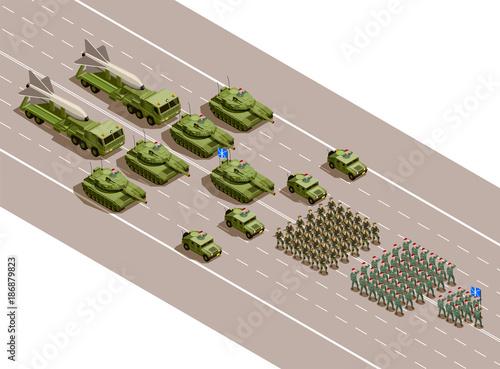 Fotografía  Military Parade Isometric Composition