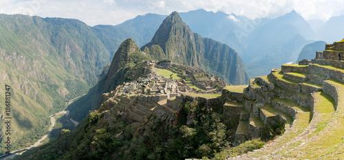 View of the Lost Incan City of Machu Picchu near Cusco, Peru. Canvas Print