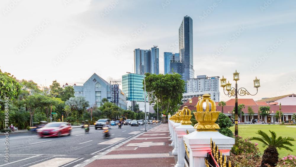 Fototapety, obrazy: Cityscape with gate Gedung Negara Grahadi building in Surabaya, East Java , Indonesia