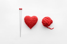 A Knitted Heart Of Red Thread ...