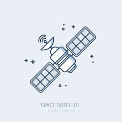 Satellite icon vector monoline illustration