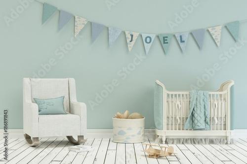 Photo  Kinderzimmer mit Wimpelgirlande - Name Joel