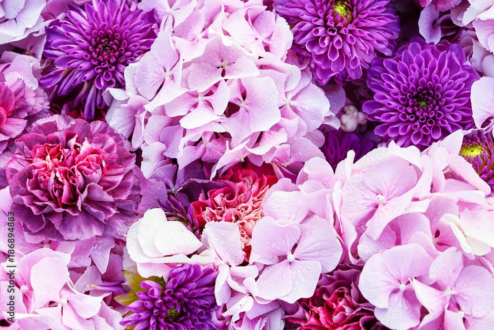 95f31c974a1d97 Naklejka 3D dziura w ścianie z regipsu Kwiaty Aster i Hortensja. Piękne  różowe kwiaty tła. Widok z góry