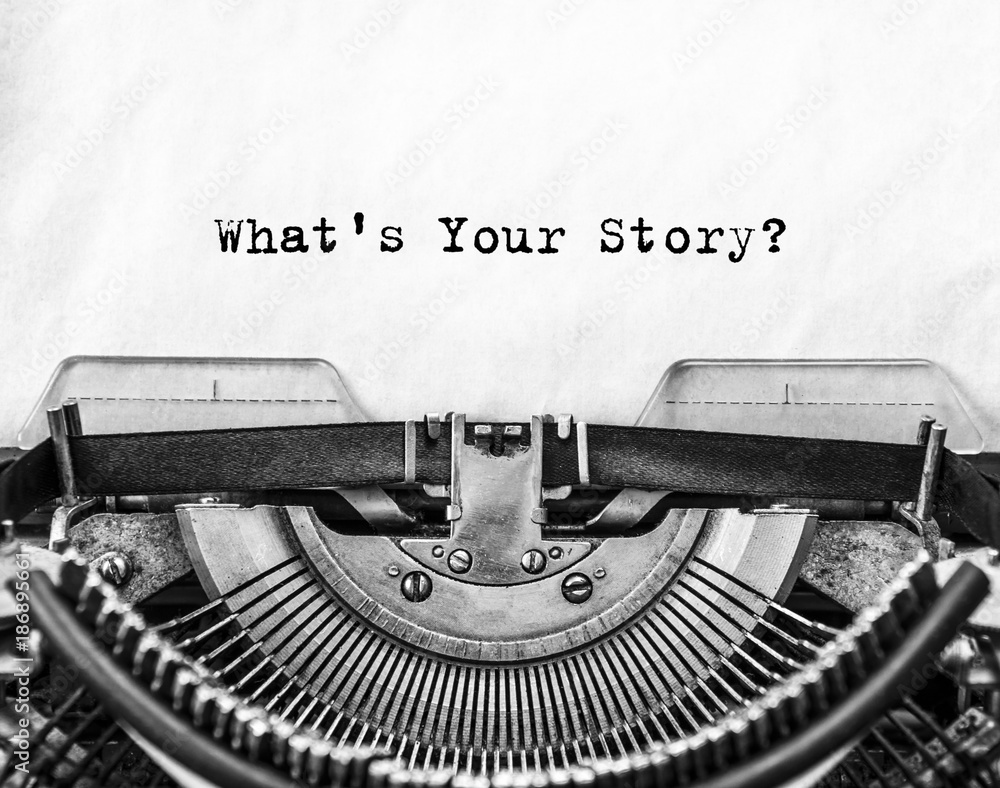 Fototapeta What's Your Story? question printed on an old typewriter.