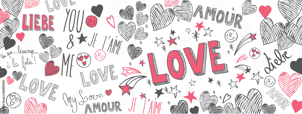 Fototapeta Love doodles background