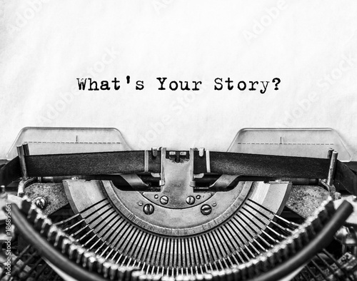 Slika na platnu What's Your Story? question printed on an old typewriter.