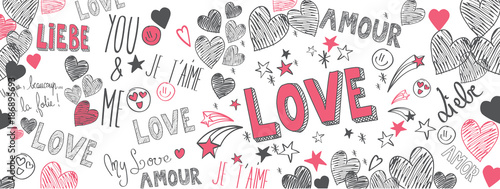 Love doodles background Poster Mural XXL