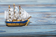 Model Of A Sailing Ship Agains...