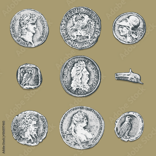set ancient coins or money  roman and greek cash reward