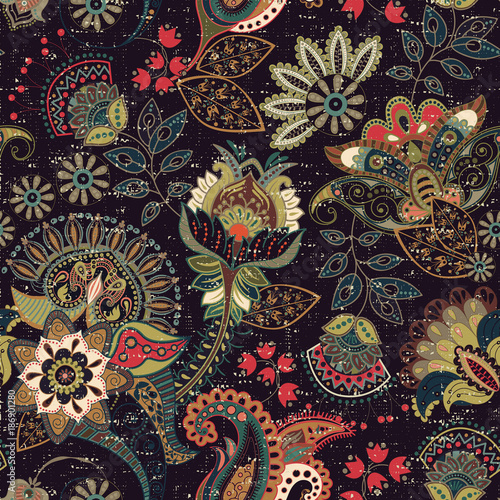 Materiał do szycia Kolorowe wektor wzór. Ilustracja z paisley i dekoracyjne kwiaty