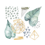 Hand drawn illustration with watercolor and marble elements. Scandinavian design. - 186904017