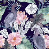 Watercolor seamless pattern with ink elements. Exotic birds and flowers. Hand drawn illustration - 186904080