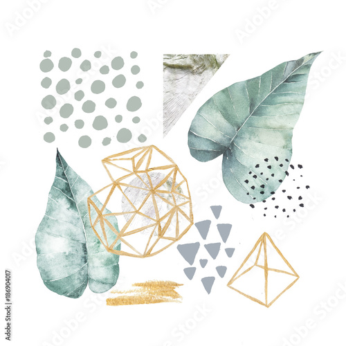 Hand drawn illustration with watercolor and marble elements Fototapet