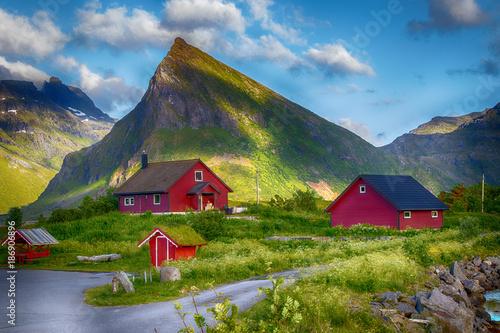 rote Holzhütten vor einem Berg, Lofoten Wallpaper Mural