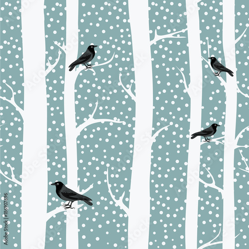 Cotton fabric Black crows on the winter trees. Snowing. Seamless pattern. Vector illustration on grey background