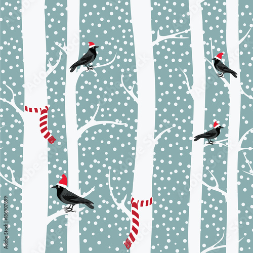 black-crows-with-christmas-hats-on-the-winter-trees-with-christmas-scarfs-snowing-seamless-pattern-vector-illustration-on-grey-background