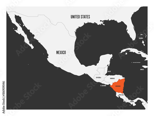 Nicaragua orange marked in political map of Central America ...