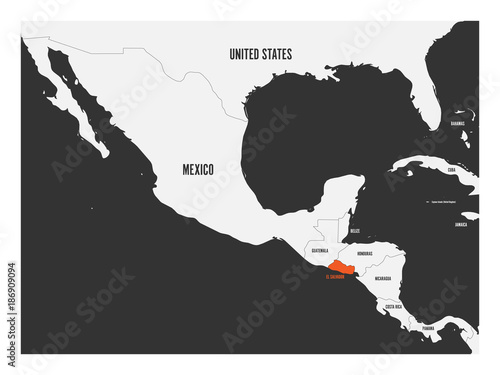El Salvador orange marked in political map of Central America ...