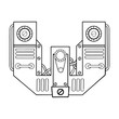 Mechanical letter W engraving vector illustration