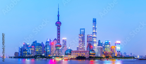 Spoed Foto op Canvas Shanghai Shanghai Bund night view