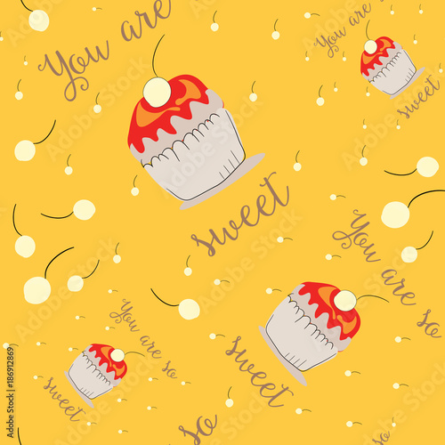 Vászonkép  You are so sweet cupcake with cherry seamless pattern