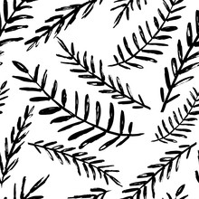 Vector Seamless Leaves Pattern. Black White Background Made With Watercolor, Ink And Marker. Trendy Scandinavian Design