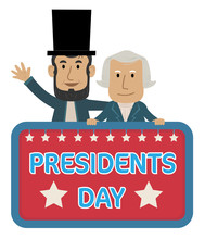 Presidents Day Clip-art - Presidents Day Sign With Abraham Lincoln And George Washington. Eps10